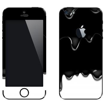 Виниловая наклейка «Потёки черно-белые» на телефон Apple iPhone 5