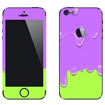 Виниловая наклейка «Потёки фиолетово-зеленые» на телефон Apple iPhone 5