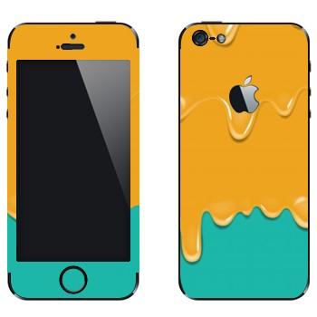 Виниловая наклейка «Потёки оранжево-бирюзовые» на телефон Apple iPhone 5