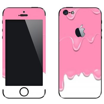 Виниловая наклейка «Потёки розовые-белые» на телефон Apple iPhone 5