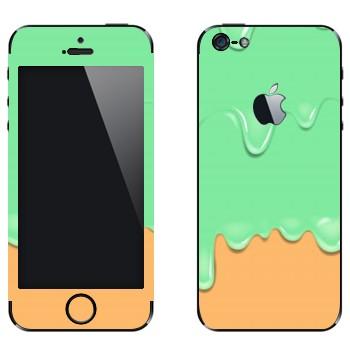 Виниловая наклейка «Потёки зелено-оранжевые» на телефон Apple iPhone 5
