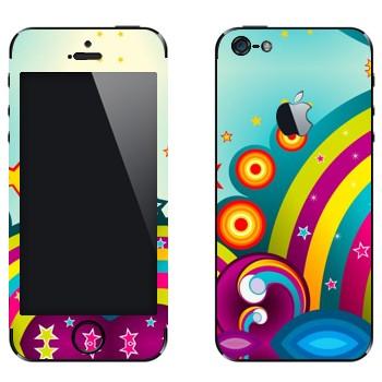 Виниловая наклейка «Радуга и цветная фантазия» на телефон Apple iPhone 5
