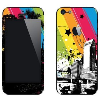 Виниловая наклейка «Радуга над городом» на телефон Apple iPhone 5