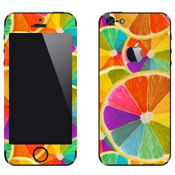Виниловая наклейка «Радужные апельсины» на телефон Apple iPhone 5