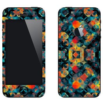 Виниловая наклейка «Разноцветные круги и ромбы» на телефон Apple iPhone 5