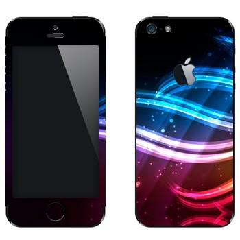 Виниловая наклейка «Разноцветные волны света» на телефон Apple iPhone 5