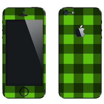 Виниловая наклейка «Салатовые и зеленые клеточки» на телефон Apple iPhone 5