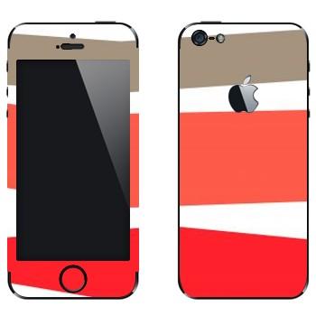 Виниловая наклейка «Серая, розовая, красная полосы» на телефон Apple iPhone 5