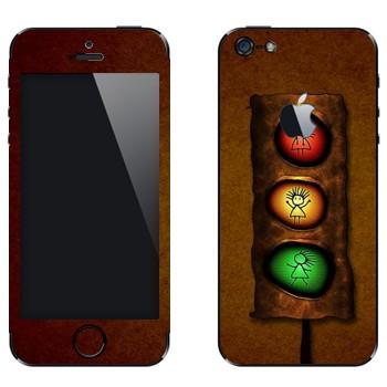 Виниловая наклейка «Светофор с человечком» на телефон Apple iPhone 5