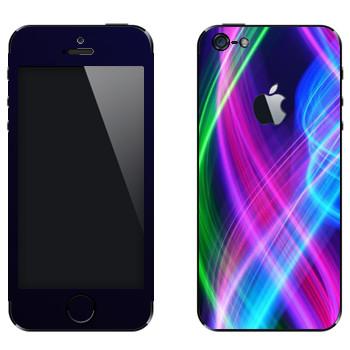 Виниловая наклейка «Волны неона» на телефон Apple iPhone 5