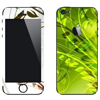 Виниловая наклейка «Зеленые растения» на телефон Apple iPhone 5