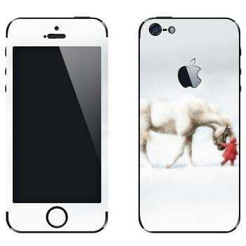 Виниловая наклейка «Белая лошадь и ребенок» на телефон Apple iPhone 5
