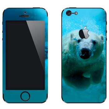 Виниловая наклейка «Белый медведь под водой» на телефон Apple iPhone 5
