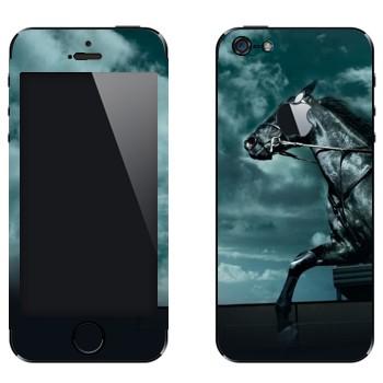 Виниловая наклейка «Черная лошадь в ночи» на телефон Apple iPhone 5