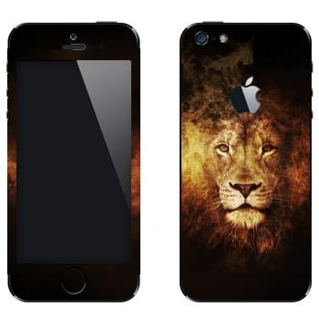Виниловая наклейка «Огненный лев» на телефон Apple iPhone 5