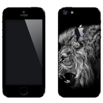 Виниловая наклейка «Рычащий лев» на телефон Apple iPhone 5