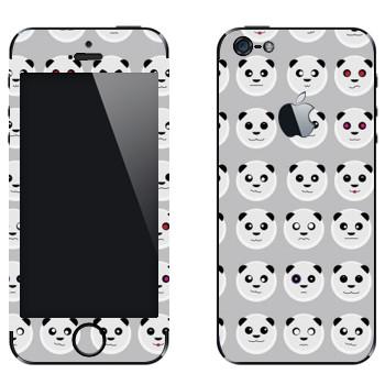 Виниловая наклейка «Панда-смайлы» на телефон Apple iPhone 5