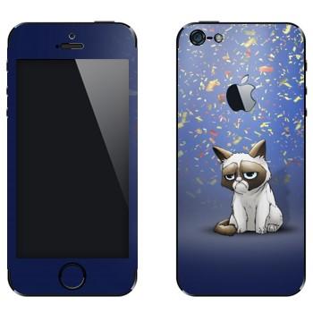 Виниловая наклейка «Сердитый кот и конфети» на телефон Apple iPhone 5