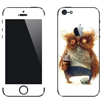 Виниловая наклейка «Сонная сова» на телефон Apple iPhone 5