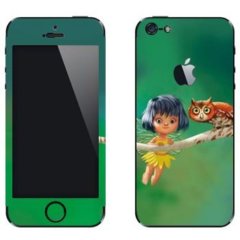 Виниловая наклейка «Сова и маленькая фея» на телефон Apple iPhone 5