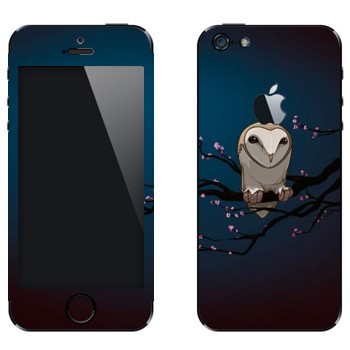 Виниловая наклейка «Сова на сакуре» на телефон Apple iPhone 5