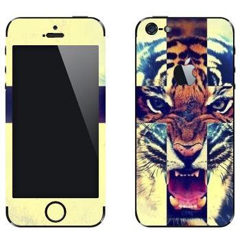Виниловая наклейка «Рычащий тигр» на телефон Apple iPhone 5