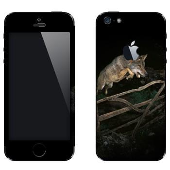 Виниловая наклейка «Волк в прыжке» на телефон Apple iPhone 5