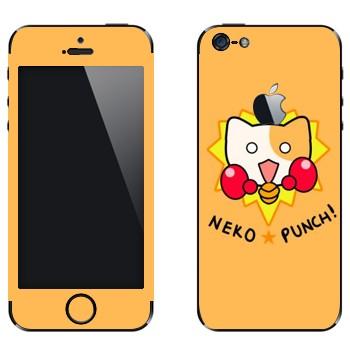 Виниловая наклейка «Neko punch - Kawaii» на телефон Apple iPhone 5