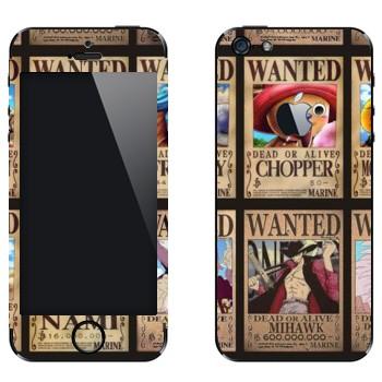 Виниловая наклейка «One Piece - постер Разыскиваются» на телефон Apple iPhone 5