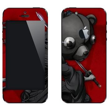 Виниловая наклейка «Афросамурай с головой медведя» на телефон Apple iPhone 5