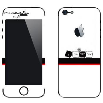 Виниловая наклейка «Черные и белые - Kawaii» на телефон Apple iPhone 5