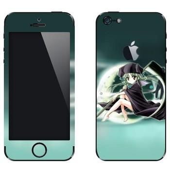 Виниловая наклейка «Девочка на фоне Луны» на телефон Apple iPhone 5