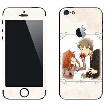 Виниловая наклейка «Холо и Крафт - Spice and wolf» на телефон Apple iPhone 5