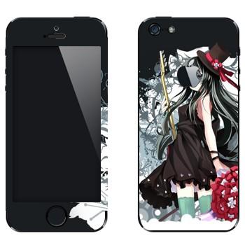 Виниловая наклейка «K-On! Девушка в черном» на телефон Apple iPhone 5