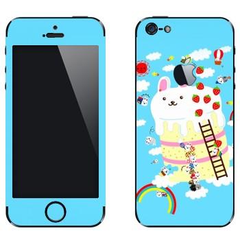 Виниловая наклейка «Кролик на пироге - Kawaii» на телефон Apple iPhone 5