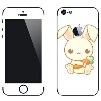 Виниловая наклейка «Кролик с морковкой - Kawaii» на телефон Apple iPhone 5
