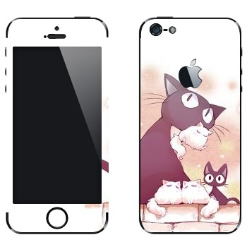 Виниловая наклейка «Неко-кошка и котята» на телефон Apple iPhone 5
