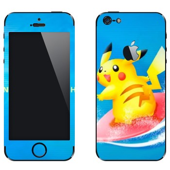Виниловая наклейка «Пикачу-серфер» на телефон Apple iPhone 5