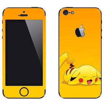 Виниловая наклейка «Пикачу спит» на телефон Apple iPhone 5