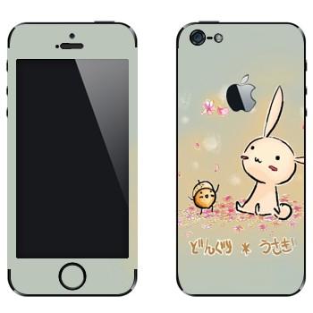 Виниловая наклейка «Розовый кролик и желудь» на телефон Apple iPhone 5