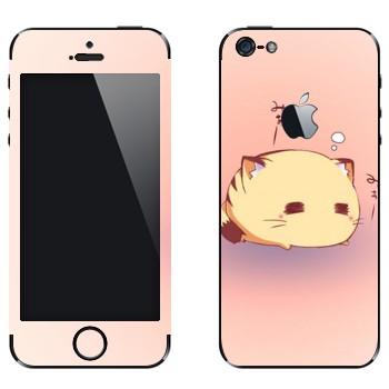 Виниловая наклейка «Спящий кот - Kawaii» на телефон Apple iPhone 5