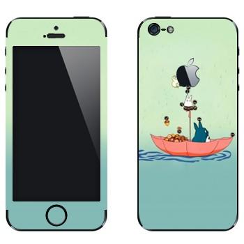 Виниловая наклейка «Тоторо в зонтике» на телефон Apple iPhone 5