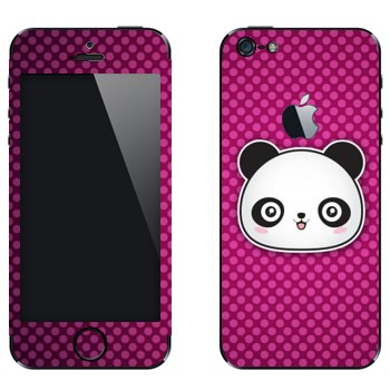 Виниловая наклейка «Веселая панда - Kawaii» на телефон Apple iPhone 5