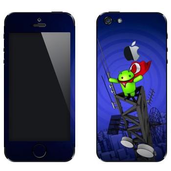 Виниловая наклейка «Android на вышке» на телефон Apple iPhone 5