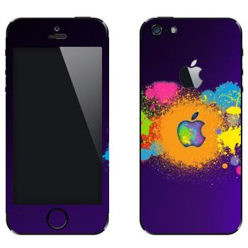 Виниловая наклейка «Apple пятна краски» на телефон Apple iPhone 5