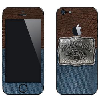 Виниловая наклейка «Jack Daniels эмблема на джинсе и коже» на телефон Apple iPhone 5