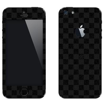 Виниловая наклейка «LV Damier Azur черный» на телефон Apple iPhone 5