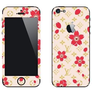 Виниловая наклейка «Louis Vuitton цветы» на телефон Apple iPhone 5