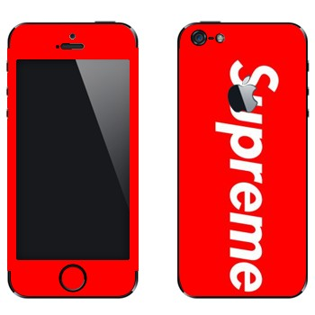 Виниловая наклейка «Supreme на красном фоне» на телефон Apple iPhone 5
