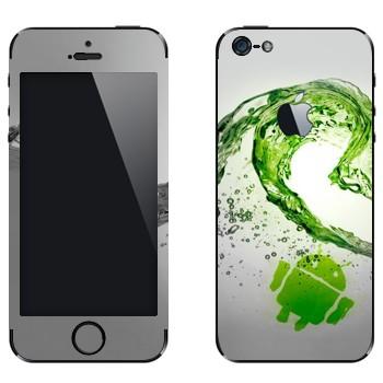 Виниловая наклейка «Андроид зеленая волна» на телефон Apple iPhone 5